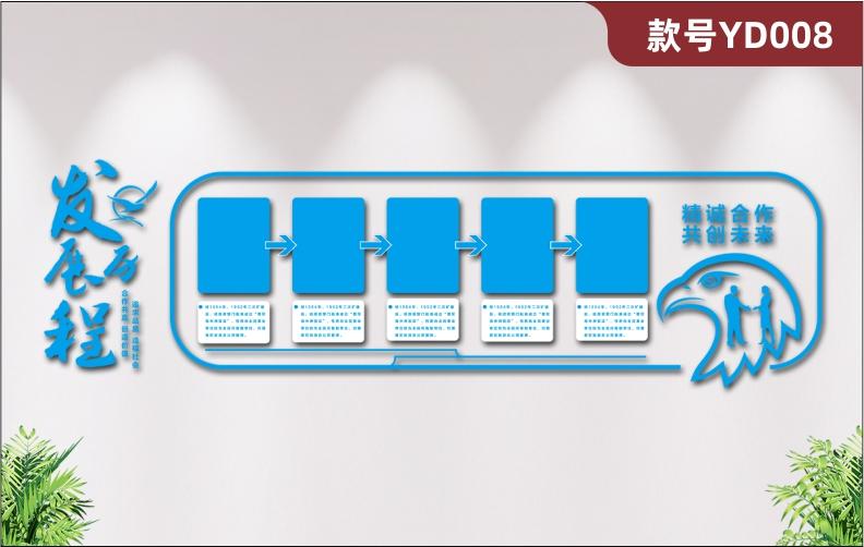 蓝色大气简约3D立体亚克力公司文化墙发展历程展示墙鹰头雕刻展板