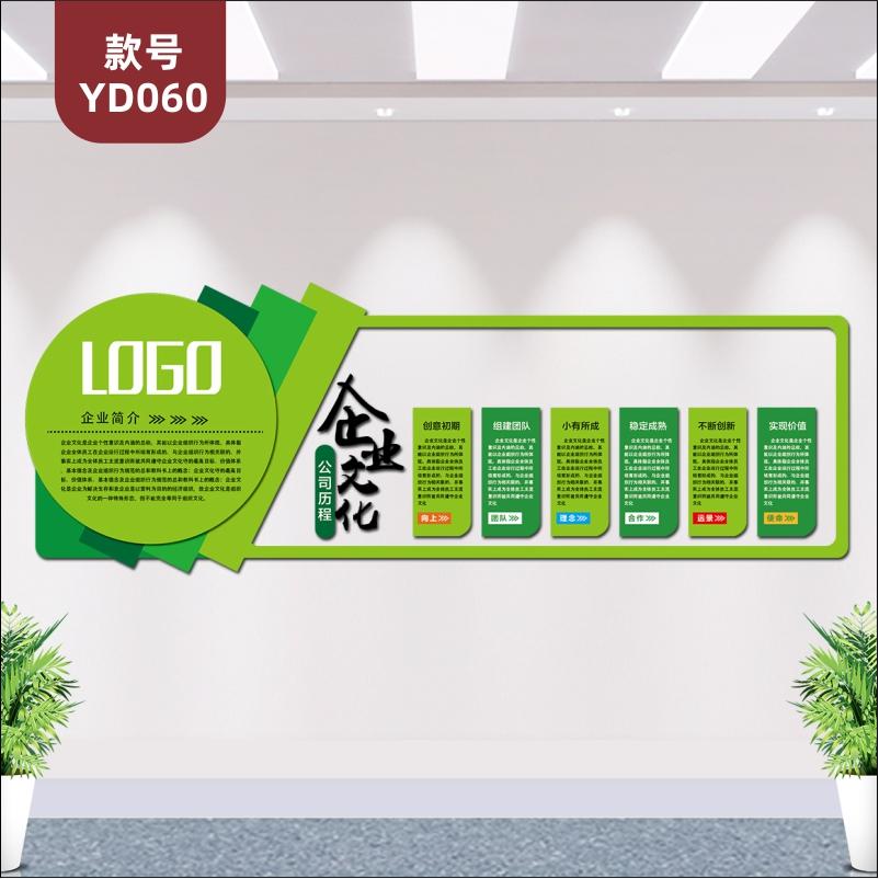 定制绿色版企业文化墙公司简介发展历程文化展板3D立体亚克力墙贴