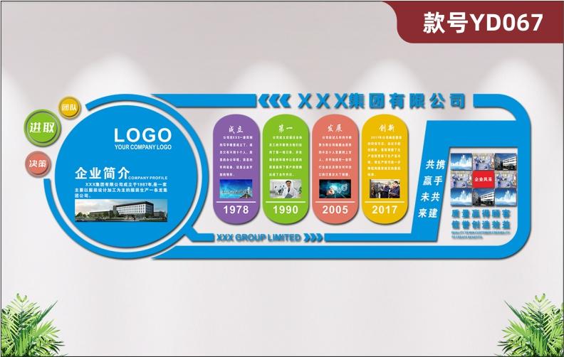 定制3D立体亚克力企业文化墙贴公司简介发展历程展板照片风采墙贴