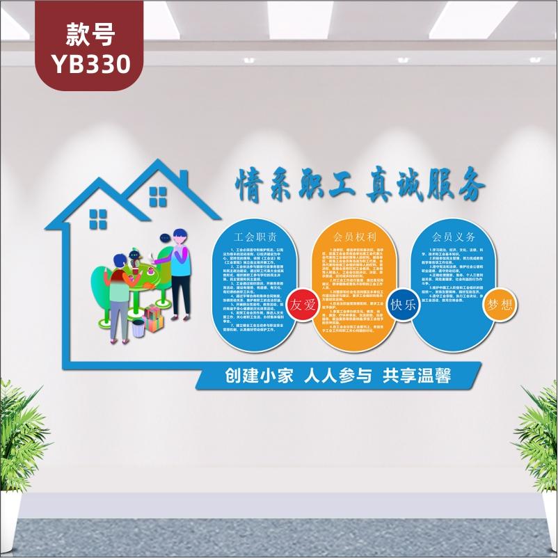 工会职工之家文化墙布置情系职工之家权力义务职责展板3D立体墙贴