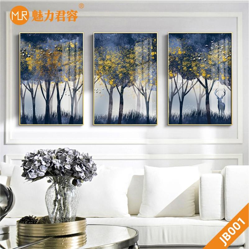 北欧风森林晶瓷风景酒店客厅装饰画沙发背景壁画风景墙画挂画三联画