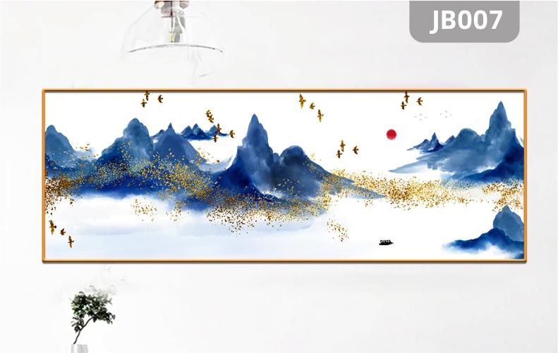轻奢新中式山峰飞鸟意境装饰画客厅沙发背景墙卧室书房挂画装饰画