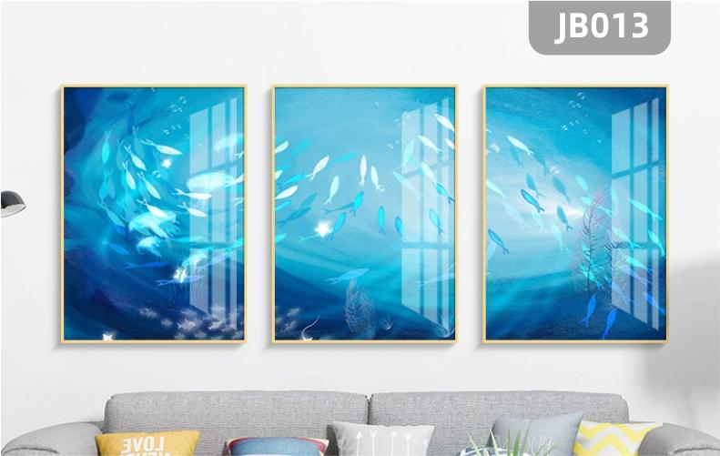 现代简约抽象鱼水中游新中式客厅沙发背景墙三联装饰画挂画晶瓷画