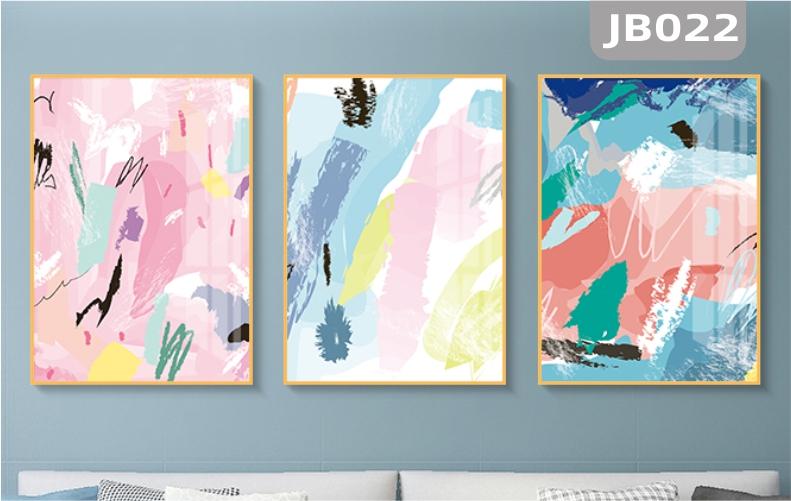 简约大气抽象手绘色彩客厅装饰画沙发背景墙走廊过道挂画三联壁画