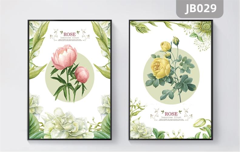 手绘花卉静物新房过道客厅沙发背景墙牡丹芍药菊花装饰画两联挂画