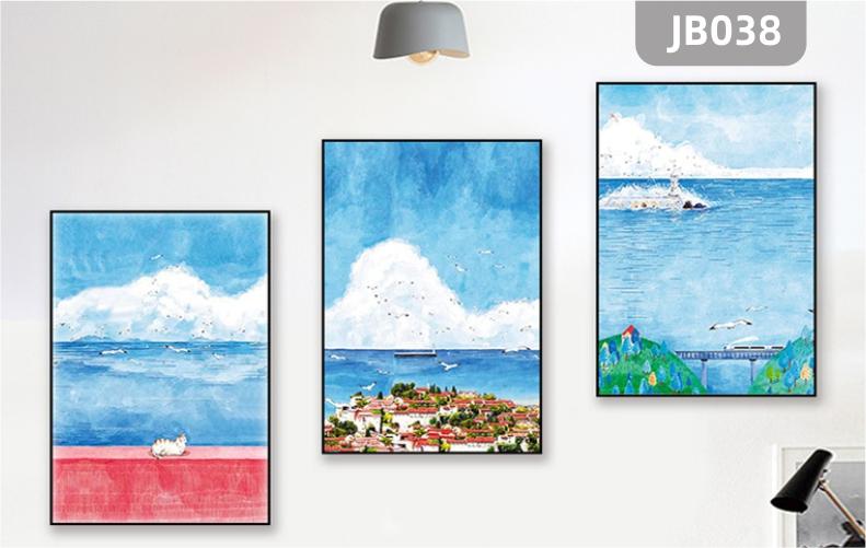 新中式客厅装饰画沙发背景墙壁画水晶无框画挂画海景风景人物三联挂画
