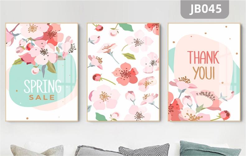 新中式花卉装饰画粉色桃花朵朵开客厅沙发背景墙装饰挂画三联挂画
