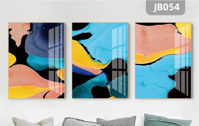 简约现代客厅沙发背景墙装饰画手绘彩色溪流小河晶瓷画三联装饰挂画