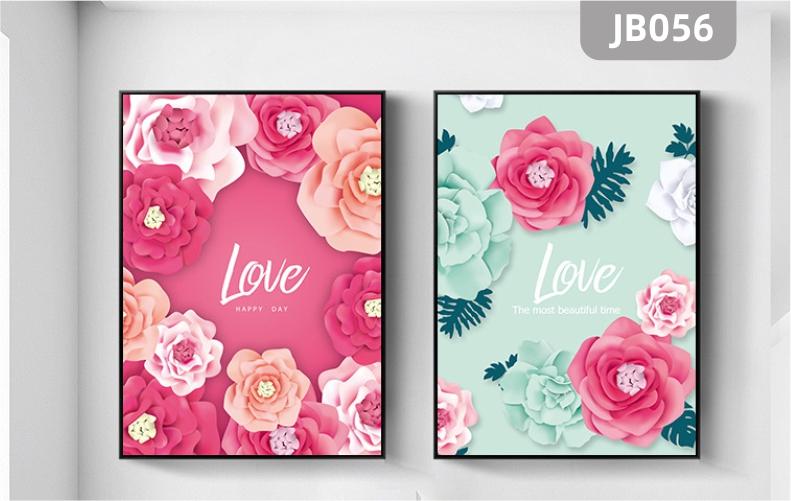 客厅沙发卧室床头背景墙浪漫情调装饰画现代简约玫瑰花卉壁画两联挂画