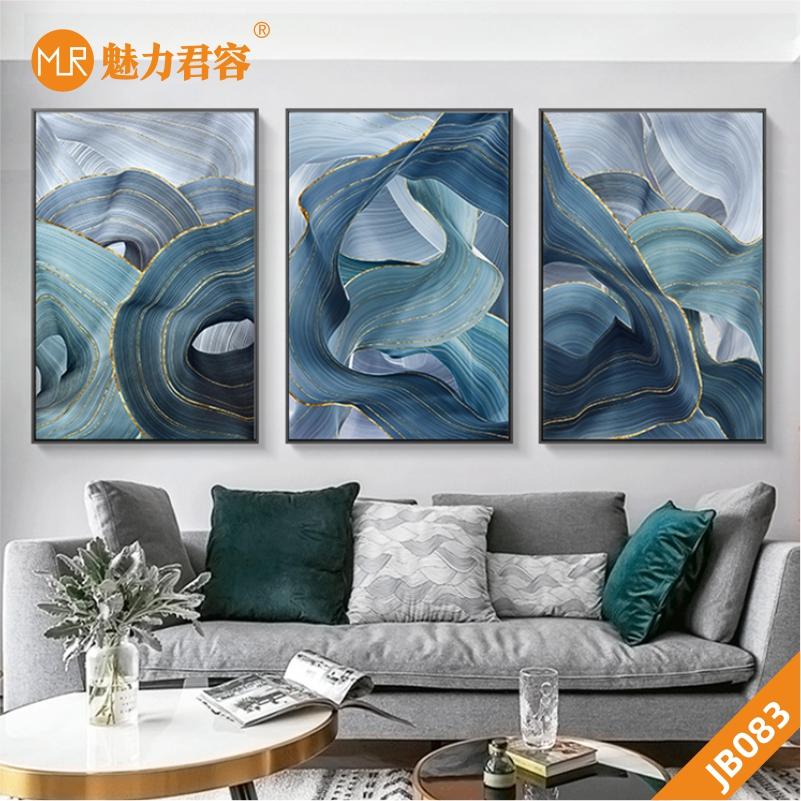 现代鎏金立体晶瓷画北欧抽象新中式客厅沙发背景墙三联装饰画壁画