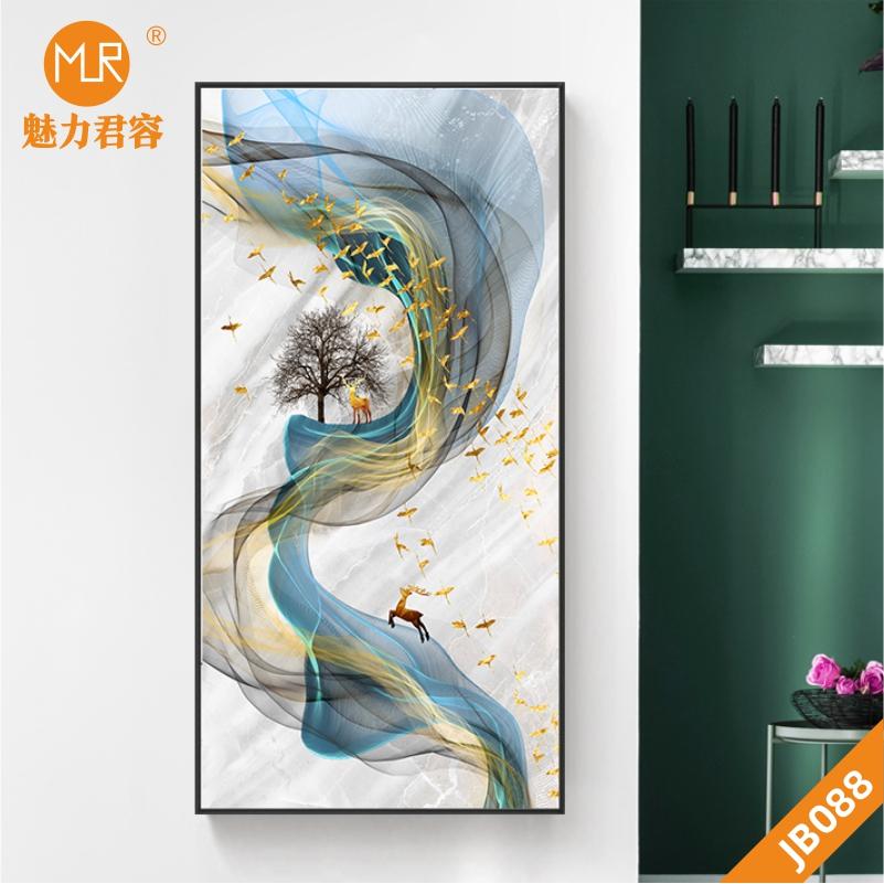 新中式现代艺术抽象水墨风景玄关壁画装饰画麋鹿发财树吉祥鸟挂画