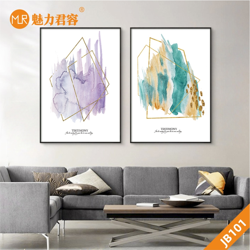 现代简约抽象色彩装饰画客厅卧室沙发背景墙壁画两联组合挂画晶瓷画