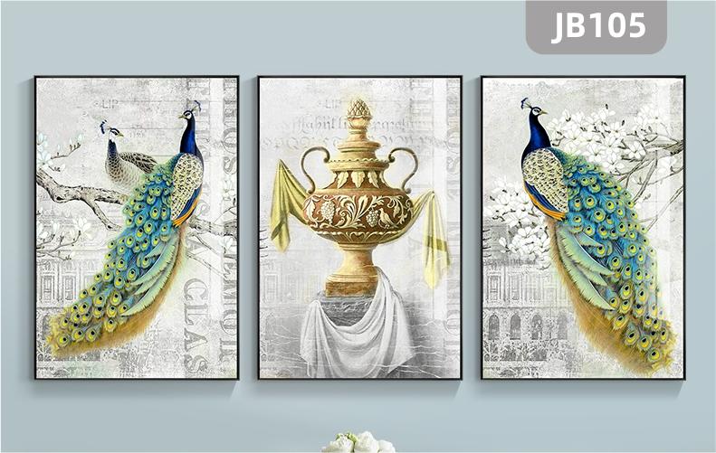 富贵孔雀客厅装饰画沙发背景墙装饰画三联挂画现代新中式组合壁画