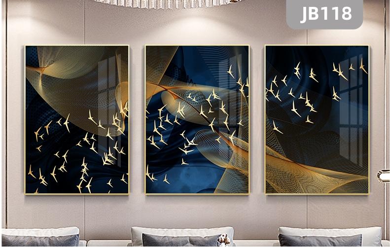 新中式客厅装饰画金色飞鸟现代简约沙发背景走廊过道挂画三联晶瓷画挂画