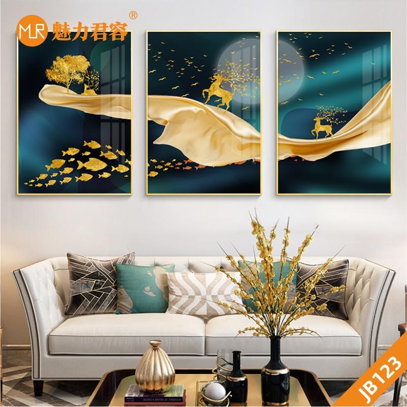 现代轻奢客厅装饰画招财麋鹿餐厅鱼群壁画简约美式沙发背景墙三联挂画