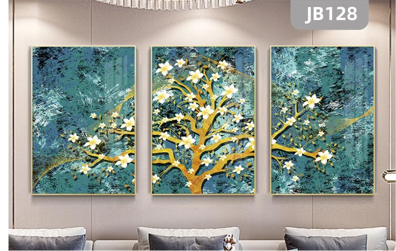 欧式手绘现代简约三联金叶树装饰画轻奢客厅沙发背景墙壁画卧室挂画