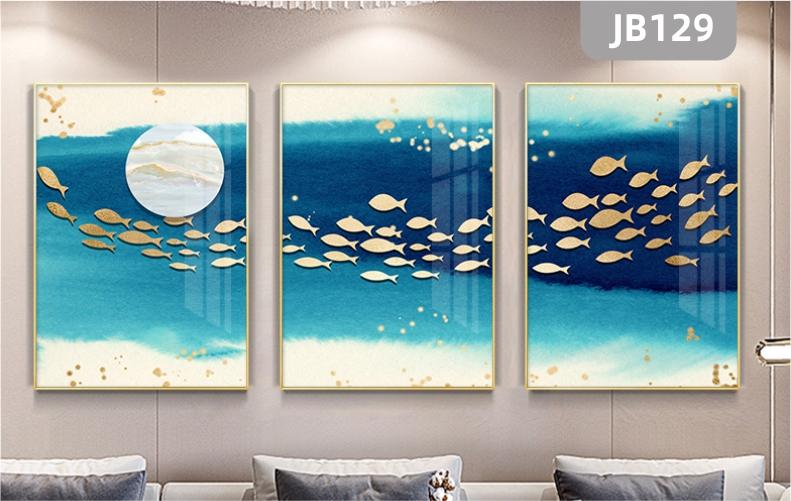 简约客厅沙发背景墙装饰画蓝色的鱼群年年有鱼流水生财三联组合挂画