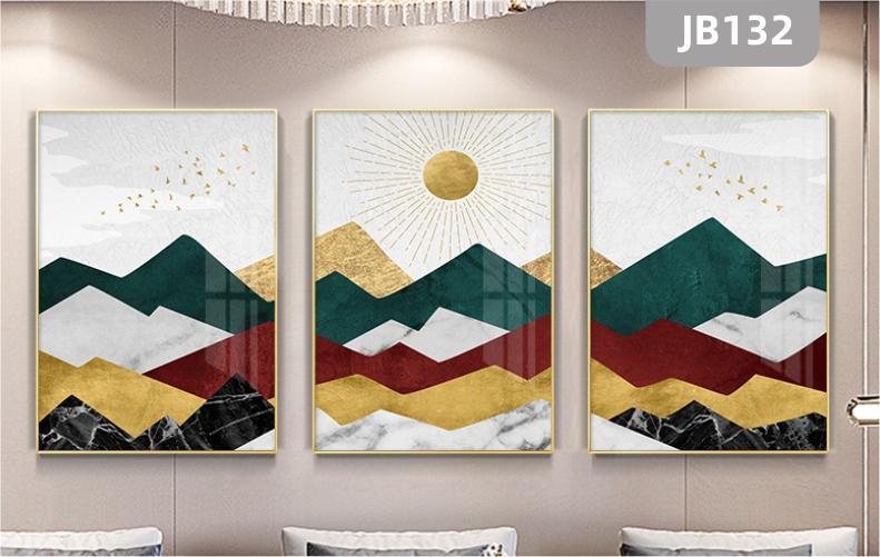 北欧抽象金色山脉太阳客厅装饰画晶瓷画沙发背景墙挂画书房三联挂画