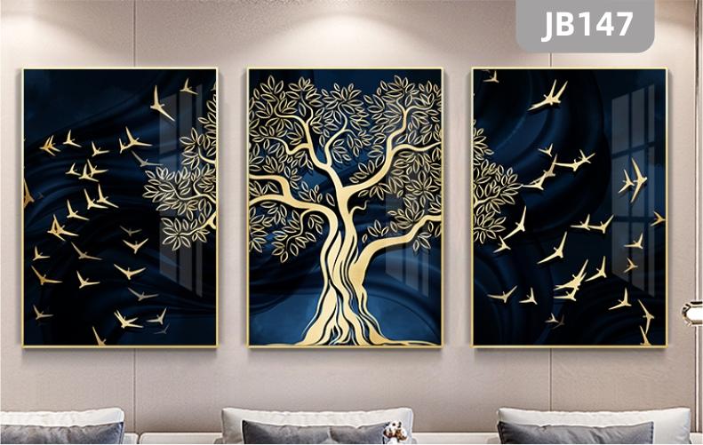 简约抽象客厅沙发背景墙装饰画发财树飞鸟大气壁画三联挂画晶瓷画