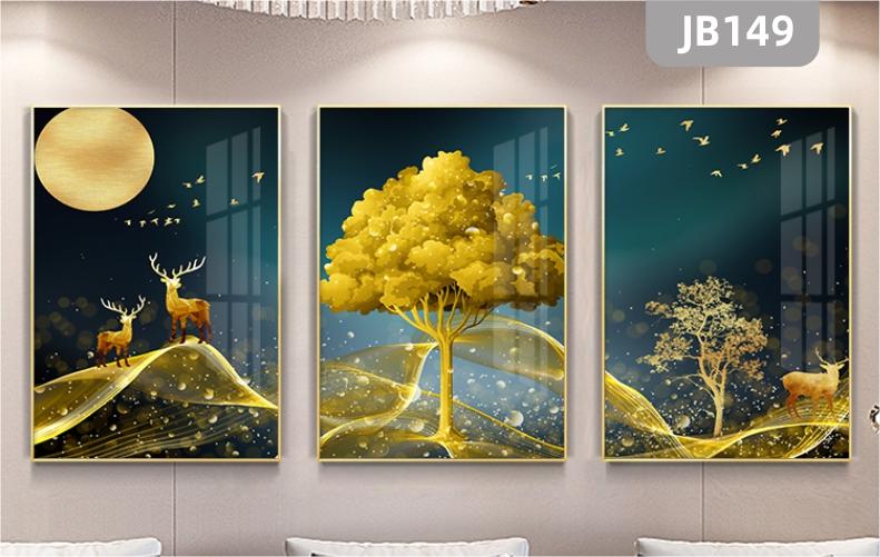 黄金树装饰画发财鹿三联招财鸟画新中式客厅沙发壁画月亮梦幻挂画