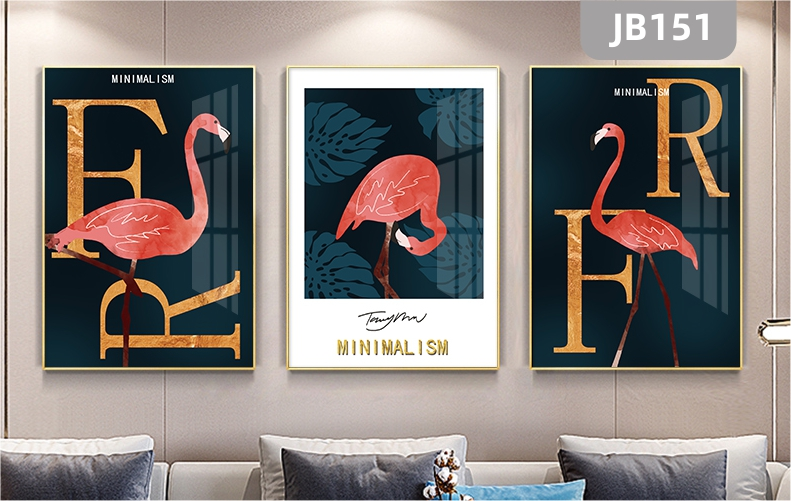 轻奢北欧风客厅沙发背景墙挂画红色火烈鸟框画简欧英文字母三联装饰画