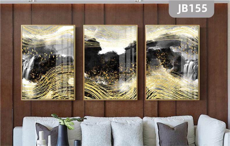 北欧现代抽象艺术线条金色飞鸟装饰画客厅挂画沙发背景墙三联壁画