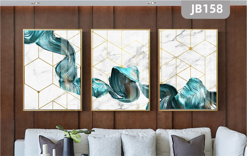 轻奢客厅装饰画沙发背景墙抽象线条挂画现代简约北欧风格三联挂画