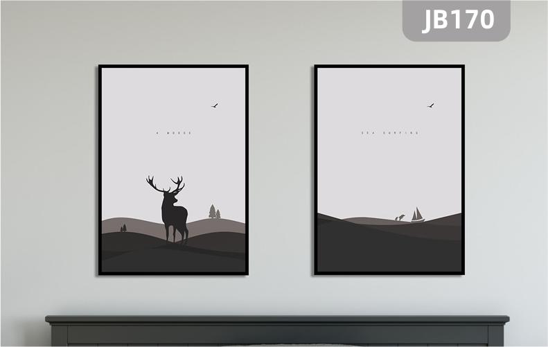 北欧麋鹿森林客厅装饰画走廊过道挂画竖版壁画沙发背景墙两联挂画