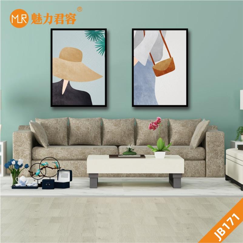 定制现代北欧客厅装饰画文艺小清新手绘美女插画卧室床头两联挂画