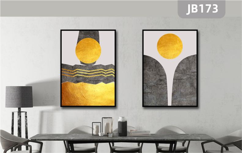 新中式简约手绘挂画山峰太阳金箔客厅沙发背景墙装饰画两联挂画壁画