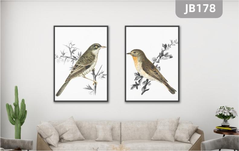 手绘现代简约抽象喜鹊花卉挂画北欧风格客厅沙发背景墙装饰画两联挂画