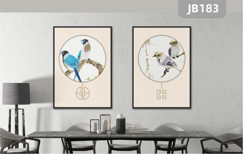 定制手绘现代简约抽象喜鹊花卉挂画北欧风格客厅餐厅两联装饰画壁画