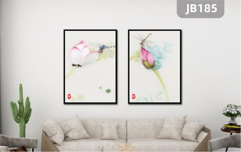 新中式茶室禅意挂画国风荷花蜻蜓客厅装饰画走廊过道墙画两联壁画