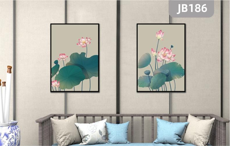 手绘中式荷花客厅装饰画简约现代餐厅卧室挂画北欧小清新两联挂画