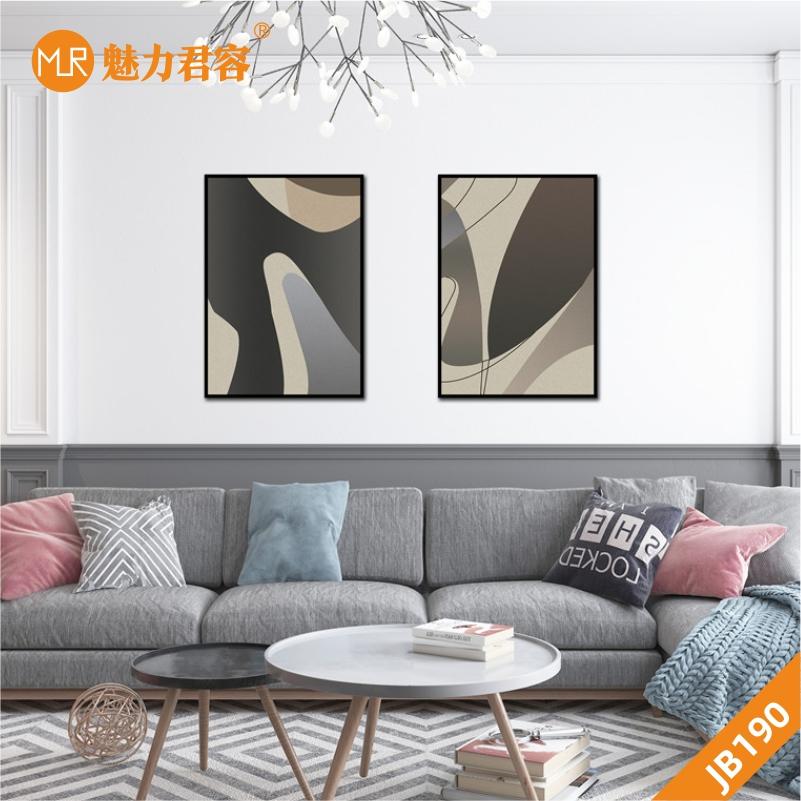 定制手绘抽象挂画客厅现代简约中式水墨抽象线条艺术两联装饰挂画