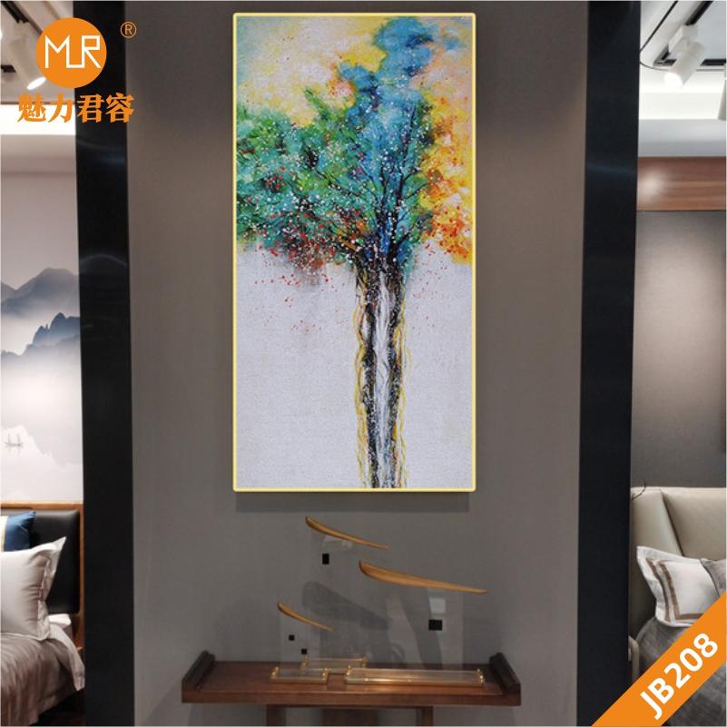 手绘树木抽象挂画现代北欧风景玄关欧式简美式挂画餐厅客厅装饰画