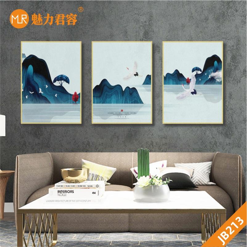北欧风装饰画客厅挂画三联画山峰大海飞鸟现代简约沙发背景墙壁画