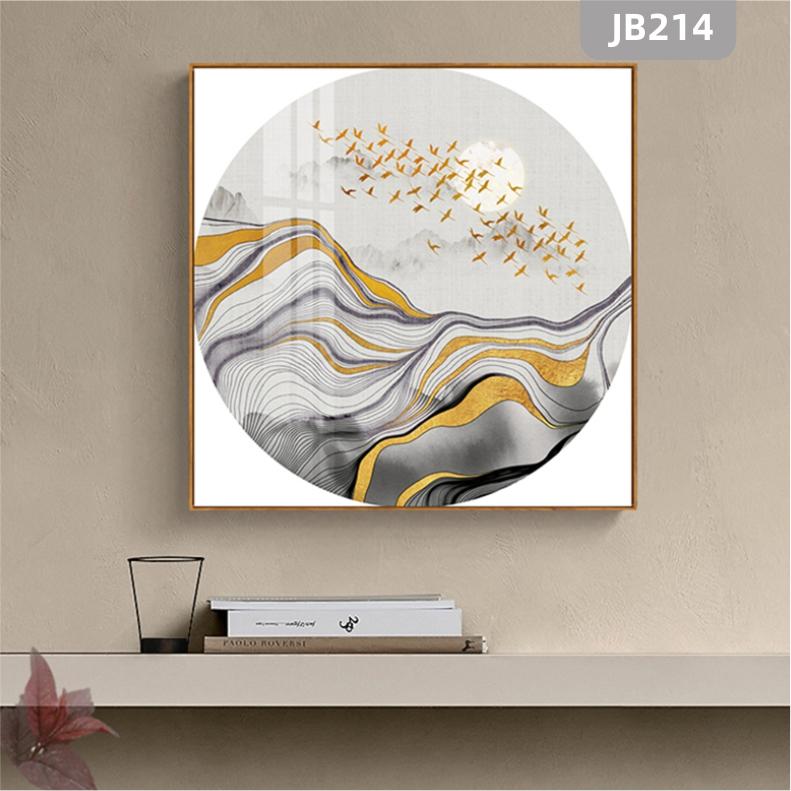 现代新中式禅意装饰画抽象山峰飞鸟风景挂画玄关壁画客厅方形挂画