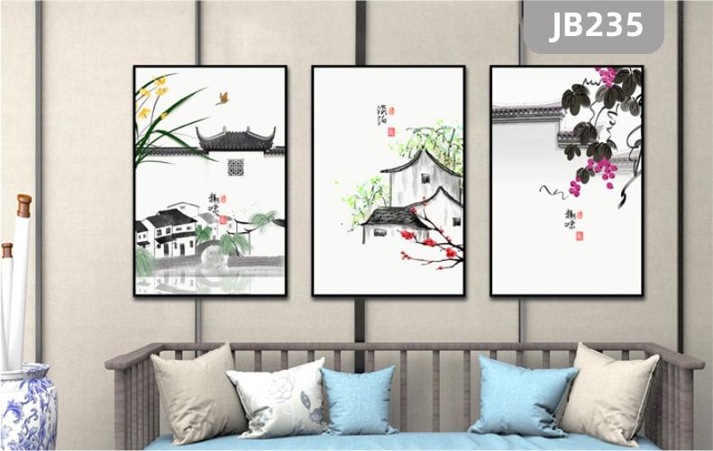 新中式装饰画客厅沙发背景墙挂画禅意山水风景房屋风景三联水墨壁画