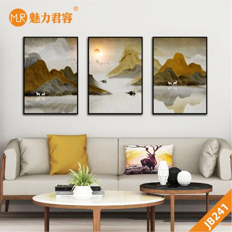 新中式现代客厅装饰画手绘山峰日出印象河流小船走廊沙发背景三联挂画