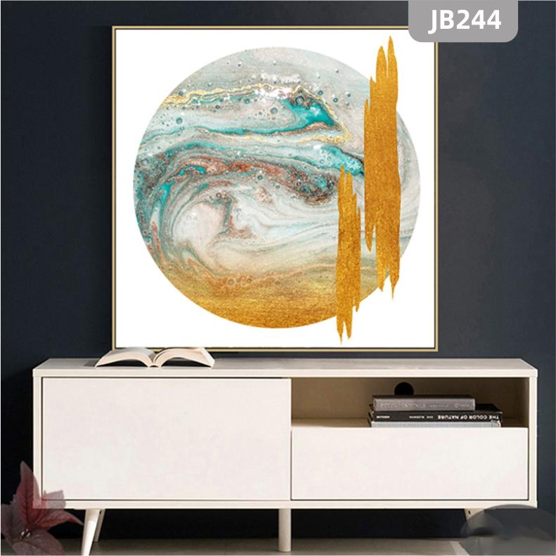 北欧抽象金色几何复古山峰装饰画客厅沙发餐厅玄关壁画方形轻奢壁画