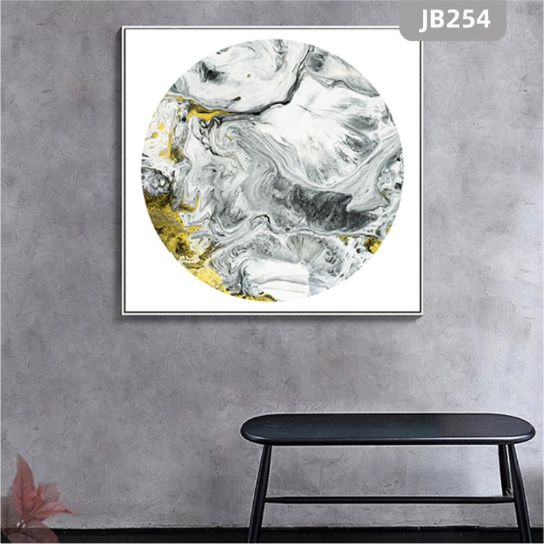 新中式招财山水抽象轻奢风景圆形装饰画客厅高玄关挂画背景墙晶瓷画