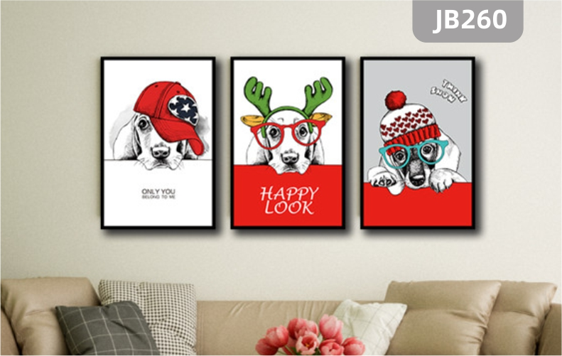北欧餐厅动物组合三联装饰画现代简约客厅沙发背景墙挂画可爱狗狗壁画