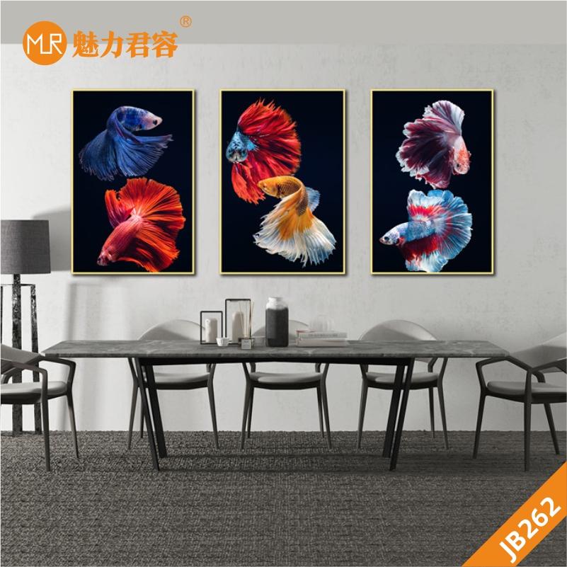 黑色轻奢客厅装饰画餐厅三联画卧室床头挂画沙发背景墙晶瓷画金鱼