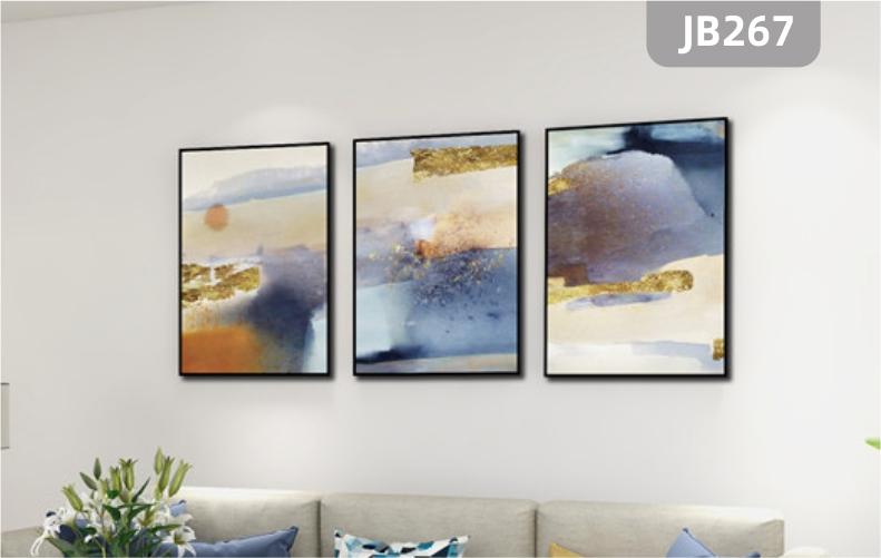 手绘抽象客厅现代简约抽象色彩美式北欧三幅挂画沙发背景墙装饰挂画