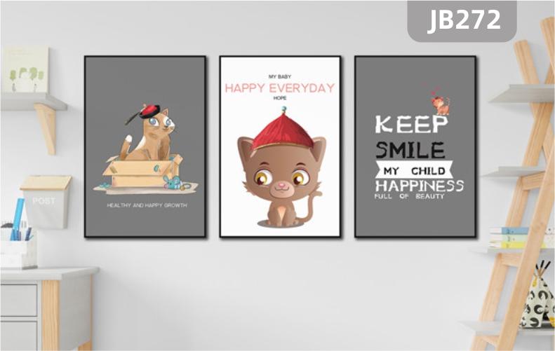 北欧风客厅装饰画ins风格卧室猫咪挂画沙发背景墙壁画儿童房三联墙画