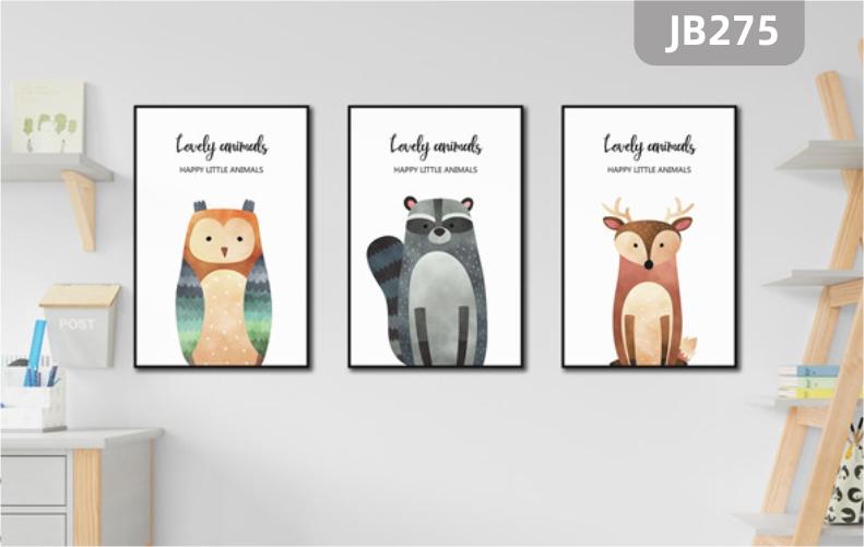 北欧卡通个性动物挂画熊猫猴子猫头鹰儿童房装饰画客厅沙发背景墙三联挂画