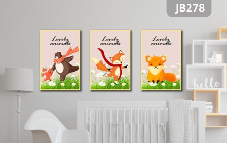 卡通简约狐狸小熊挂画幼儿园客厅沙发背景墙壁画儿童房卧室三联装饰画