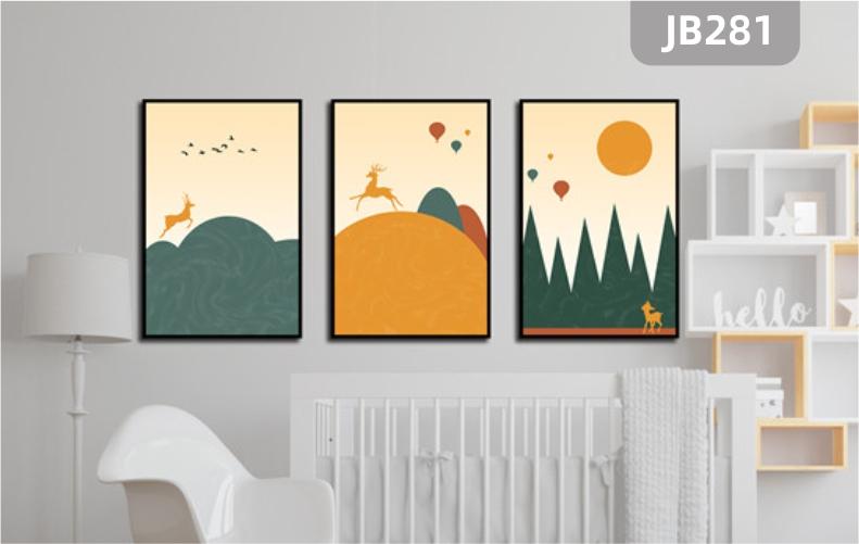 北欧现代手绘日出落日山峰小马奔跑客厅装饰画沙发背景墙三联挂画