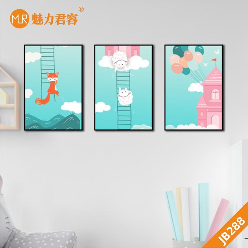 可爱小清新少女系列客厅装饰画卧室床头挂画沙发背景墙三联挂画松鼠天使